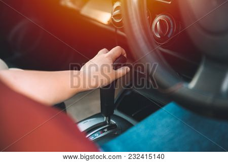 Closeup Women Driver Hand Shifting Gears Inside Car Vintage Color Tone