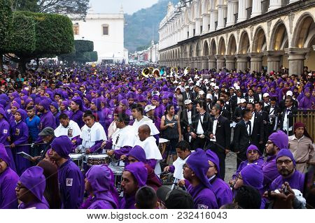 Antigua, Guatemala: March 18 2018: Marching Band At The Procession San Bartolome De Becerra At The P