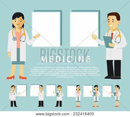 Practitioner Young Doctor Man And Woman In Different Poses With Placards For Your Message. Medical S