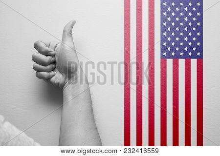Hand Thumbs Up With American Flag For Good Best Country Of Usa Concept