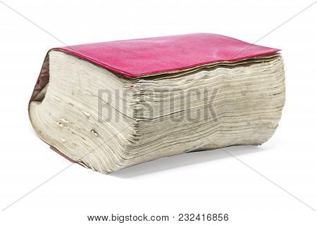 Old Thick Book Isolated On White With Clipping Path