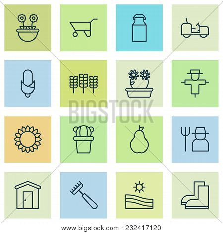 Garden Icons Set With Barn, Peony, Corn And Other Gardening Shoes Elements. Isolated Vector Illustra