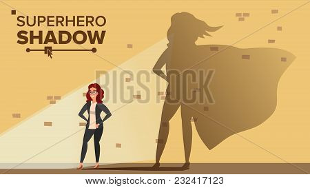 Businesswoman Superhero Shadow Vector. Emancipation, Ambition, Success. Leadership Concept. Creative Modern Business Superhero. Cartoon Illustration poster