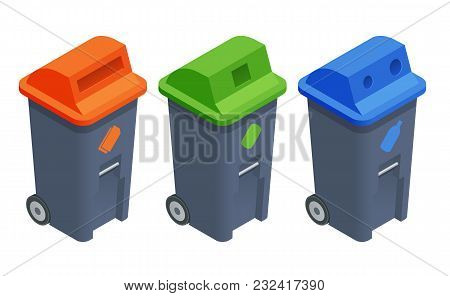 Recycling Garbage Elements. Sorting And Processing Of Garbage. Utilize Waste. Isometric Colourful Re