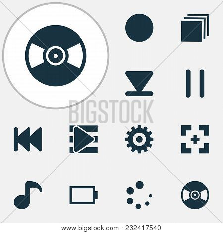 Music Icons Set With Full Screen, Playlist, Energy And Other Quaver Elements. Isolated Vector Illust