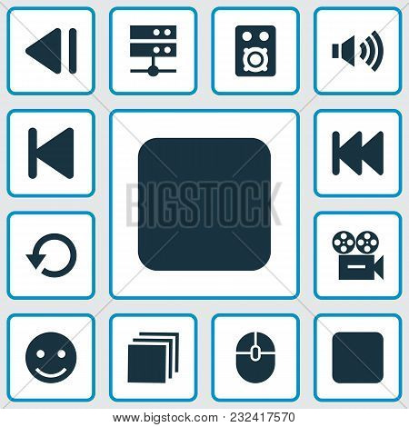 Media Icons Set With Camera, Stop, Categories And Other Previous Elements. Isolated Vector Illustrat