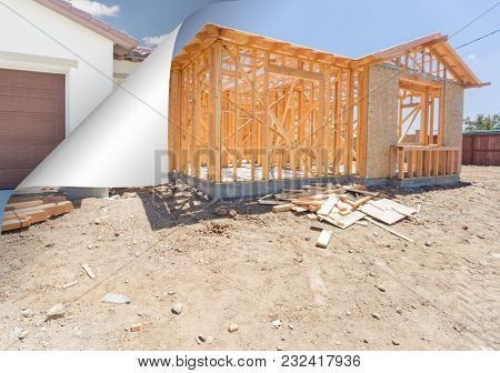 House Construction Framing with Page Corner Flipping to Completed House Behind.