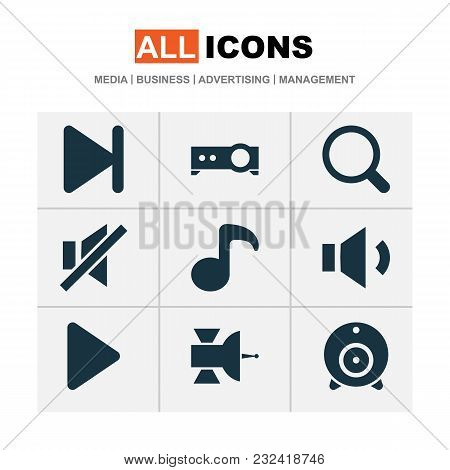 Multimedia Icons Set With Megaphone, Search, Musical Note And Other Presentation Elements. Isolated