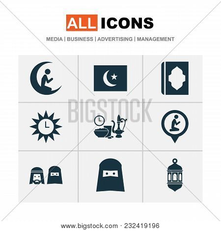 Ramadan Icons Set With Iftar, Ramadan, Azan And Other Man With Moon Elements. Isolated  Illustration