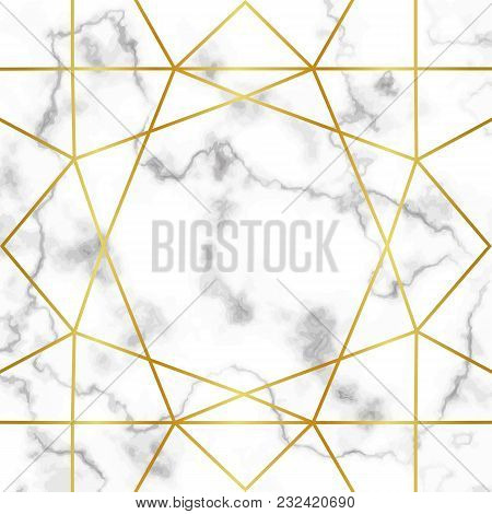 Pattern With Gold Geometric Artdeco Element On Marble Background. Luxury Mock Up, Template For Greet