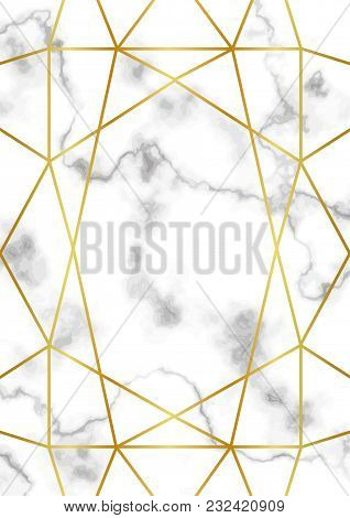 Pattern With Gold Geometric Artdeco Element On Marble Background. Luxury A4 Mock Up, Template For Gr