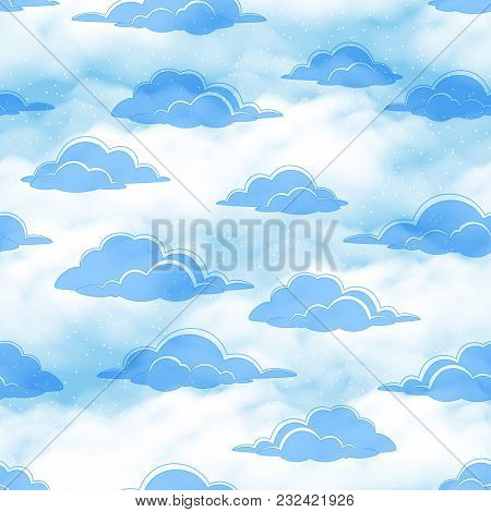 Seamless Cloudscape Background, Blue Clouds On Tile Sky. Vector