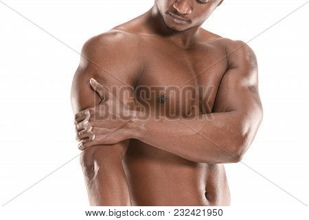 Fit Young Man With Beautiful Torso, Isolated On White Background. The Naked Torso Of African America