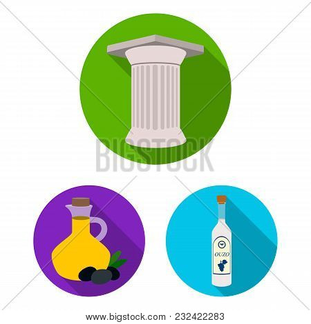 Country Greece Flat Icons In Set Collection For Design.greece And Landmark Vector Symbol Stock  Illu