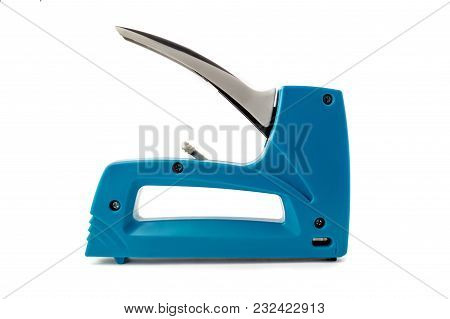 Blue Grey  Staple Gun, Isolated On White Background