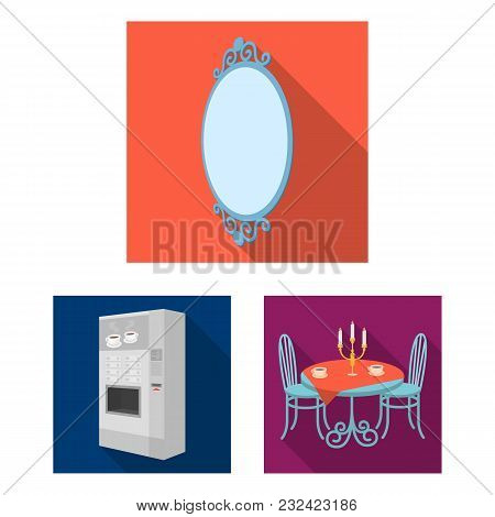 Furniture And Interior Flat Icons In Set Collection For Design. Home Furnishings Vector Isometric Sy