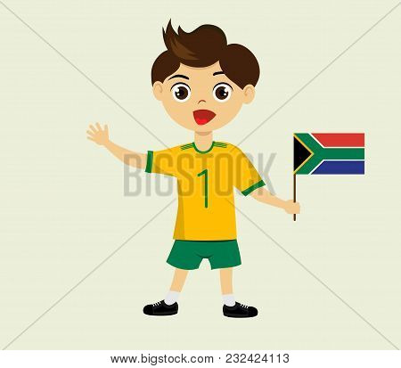 Fan Of South Africa National Football, Hockey, Basketball Team, Sports. Boy With South Africa Flag I
