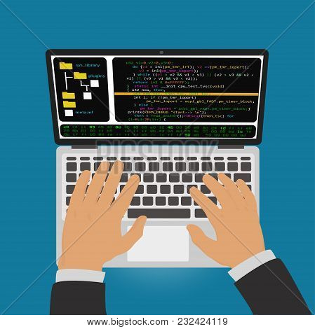 The Programmer Develops A Program Code In The Editor Integrated Development Environment On Laptop.