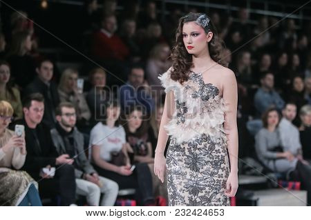 Zagreb, Croatia - March 21, 2018 : Fashion Model Wearing Clothes For Spring - Summer, Designed By Iv