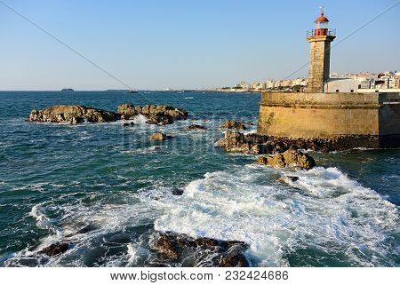 Farol De Felgueiras On The Atlantic Coast.porto.portugal.