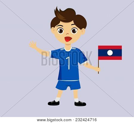 Fan Of Laos National Football, Hockey, Basketball Team, Sports. Boy With Laos Flag In The Colors Of