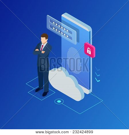 Isometric Web Banners For Cloud Computing Services And Technology, Data Storage. Vector Illustration