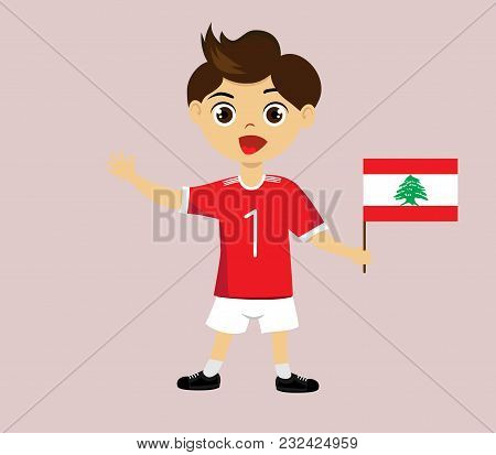 Fan Of Lebanon National Football, Hockey, Basketball Team, Sports. Boy With Lebanon Flag In The Colo