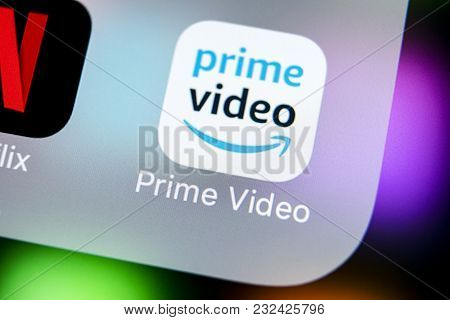 Sankt-petersburg, Russia, March 22, 2018: Amazon Prime Video Application Icon On Apple Iphone X Scre