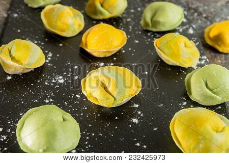 Homemade Raw Dumpling, Yellow And Green Colors, Traditional East European Food Before Boiling. Top V