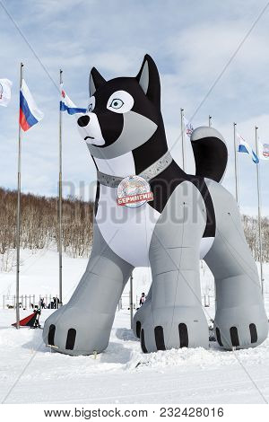 Kamchatka Peninsula, Russia - March 1, 2018: Inflatable Pneumatic 10-meter Figure Of Husky Sled Dog