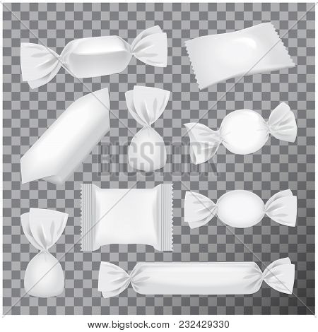 White Foil Pack For Candies And Other Products, Realistic Food Snack Pack Mock Up On Transparent Bac
