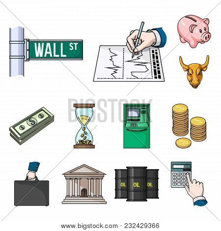 Money And Finance Cartoon Icons In Set Collection For Design. Business And Success Vector Symbol Sto