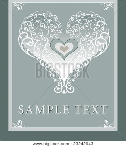 Wedding invitation, frame, heart