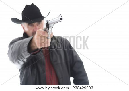 Gunfighter With Revolver, Isolated On White Background