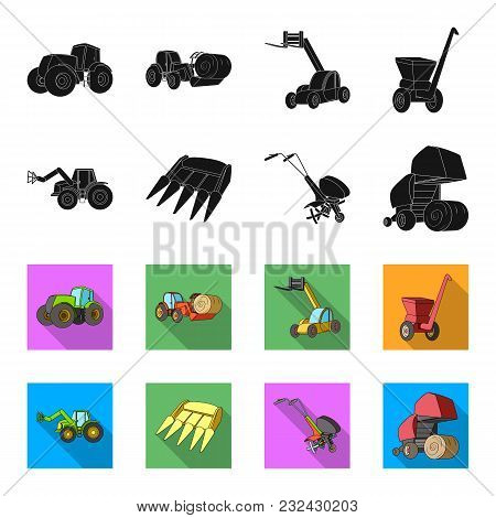 Motoblock And Other Agricultural Devices. Agricultural Machinery Set Collection Icons In Black, Flet