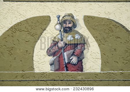 HOHENBERG, GERMANY - JULY 04: Saint James, fresco by Sieger Koder on the wall of the pilgrimage house of St. James in Hohenberg, Germany on July 04, 2017.