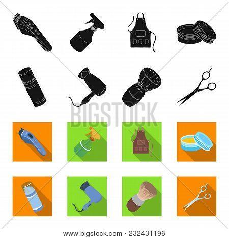 Brush, Scissors, Electric Hair Dryer And Other Equipment For Men Hairdressing Salon.barbershop Set C