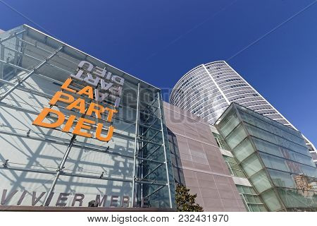 Lyon, France, March 22, 2018 : The Shopping Mall In La Part-dieu. The District Is The Central Busine