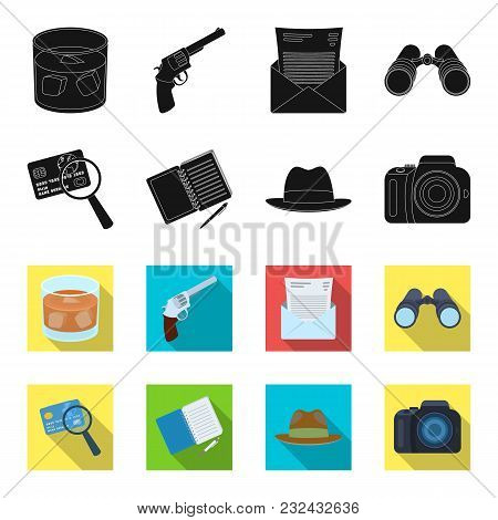 Camera, Magnifier, Hat, Notebook With Pen.detective Set Collection Icons In Black, Flet Style Vector