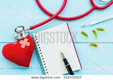 World Health Day, Healthcare And Medical Concept. Stethoscope, Red Heart, Notepad Or Notebook, Therm