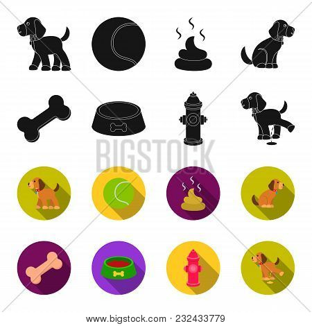 A Bone, A Fire Hydrant, A Bowl Of Food, A Pissing Dog.dog Set Collection Icons In Black, Flet Style