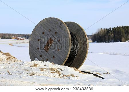 Salo, Finland - February 3, 2018: Cable Reel For Laying Underground Power Cable At Rural Work Site I