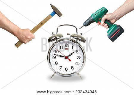 Hands With Tool Break The Alarm Clock. On White Background