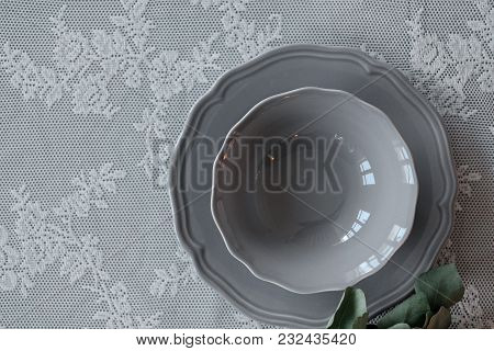 A Plate On The Table. Table Decoration. Table Setting. Dish Parts