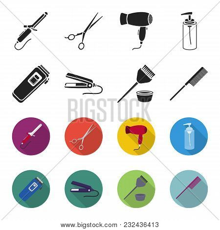 Trim, Hair Coloring, Comb, Straightener. Hairdresser Set Collection Icons In Black, Flet Style Vecto
