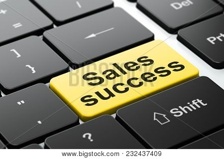 Marketing Concept: Computer Keyboard With Word Sales Success, Selected Focus On Enter Button Backgro