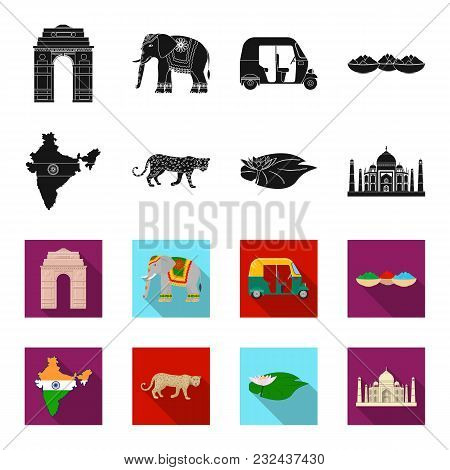 Country India Black, Flet Icons In Set Collection For Design.india And Landmark Vector Symbol Stock