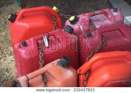 Red Containers Fuel Gas Petrol Plastic Gallon Flammable Power