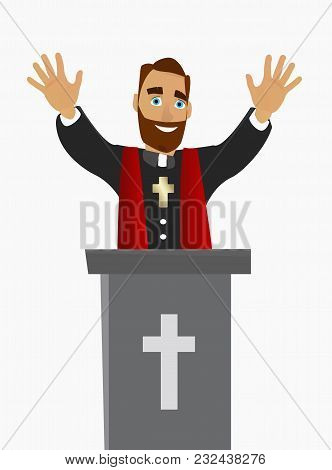 A Christian Priest Bless Peoples In A Church In Worship. Vector Illustration.
