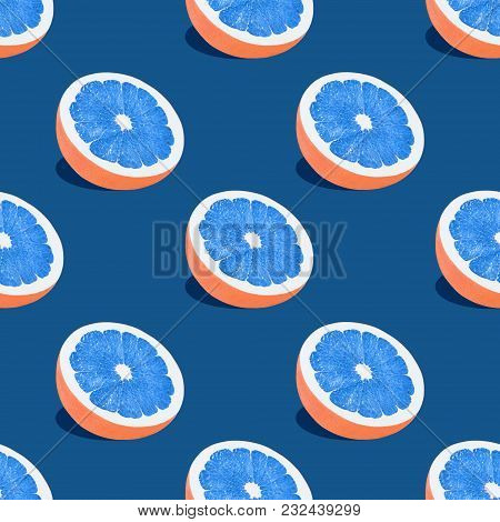 Grapefruit Seamless Pattern Halves Of Grapefruit With Blue Pulp Are Lying On A Blue Background Pop A